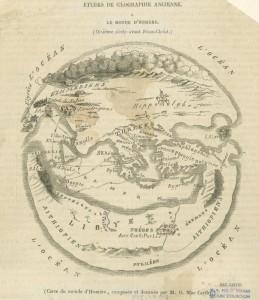 Carte du monde d'Homère, composée et dessinée par M.O. Mac Carthy (1849)