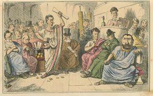Cicero denouncing Catiline, The Comic History of Rome by Gilbert Abbott A Beckett. Bradbury, Evans & Co, London, 1850s (c) domaine public