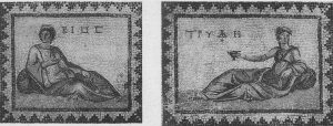 Daphné. Maison «de Dionysos ivre», mosaïques de Bios, La vie et Tryphè, la Bonne vie