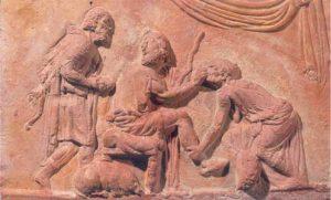 Ulysse reconnu par sa nourrice. Plaque de revêtement architectonique, frise, Italie, règne d'Auguste. (c)Genève, collection privée (A.C)