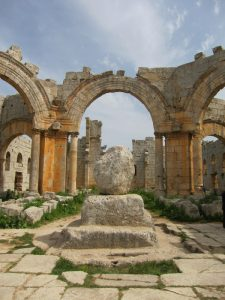 Remains of the column of Simeon Stylites the Elder at Qalaat Siman in northern Syria (c) Sean Leatherbury/Manar al-Athar