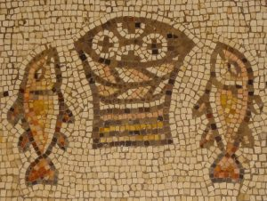 Mosaic from the Church of the Multiplication of the Loaves and Fishes at Tabgha (Heptapegon) in the Galilee (c) Elias Khamis/Manar al-Athar