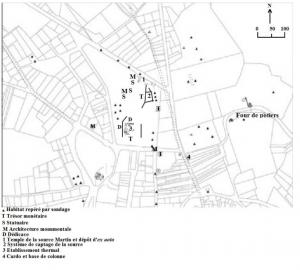 Site de Luxueil-les-Bains. D'après Card, 2008, p. 218