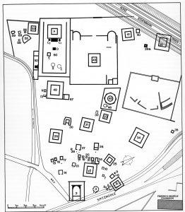 Altbachtal au milieu du IIème siècle. Les bâtiments 6b et 38a sont des bâtiments d'habitat situé dans le sanctuaire, d'après Gose 1972, 269.